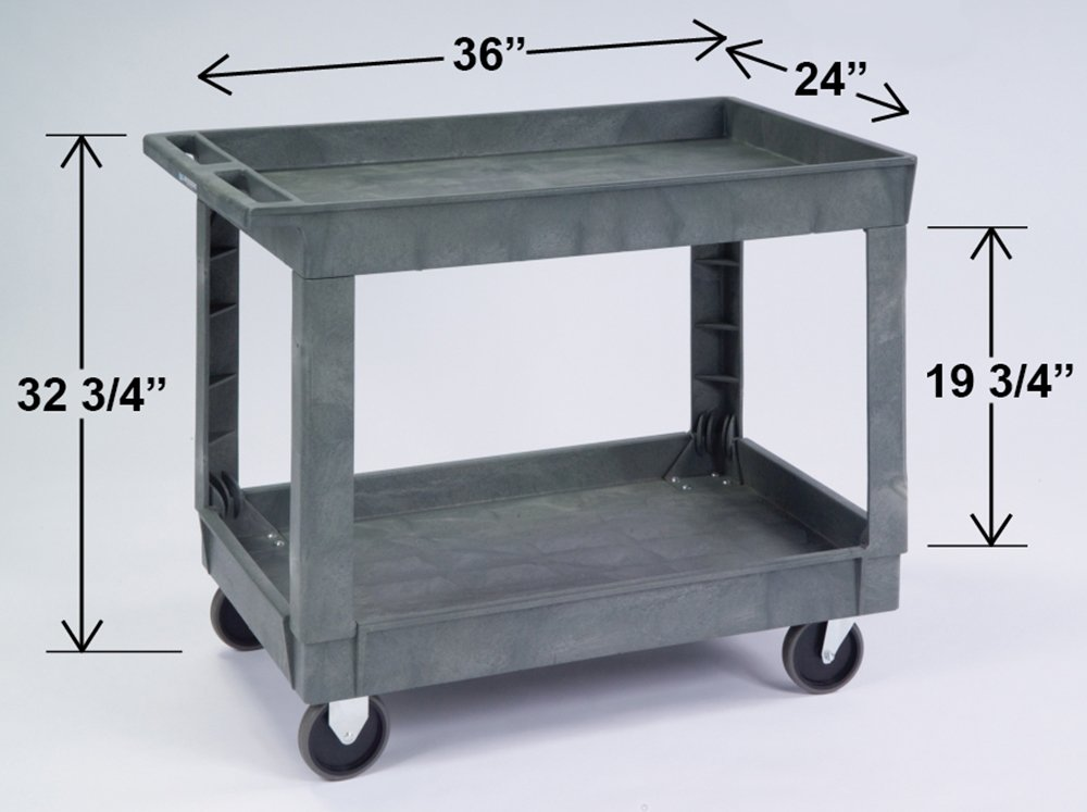 Lakeside 2523 Deep Well Plastic Utility Cart 500 Lb Capacity, 2 Shelf, 24 X36 – Charcoal