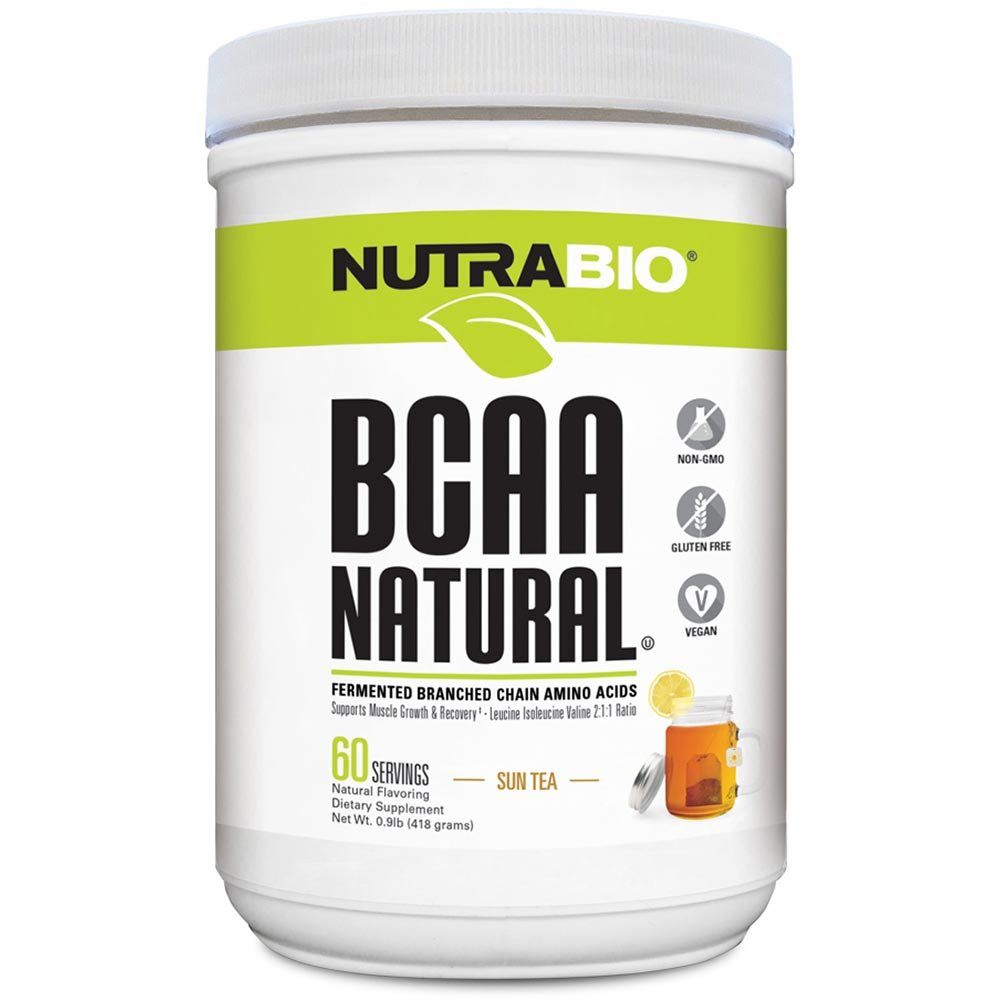 NutraBio BCAA Natural Powder - 60 Servings (Sun Tea)