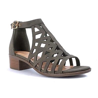 d7f564e5ba9da Z. Emma Women's Open Toe Cutout Gladiator Chunky Low Heel Buckle Strap  Summer Dress Sandals JY82