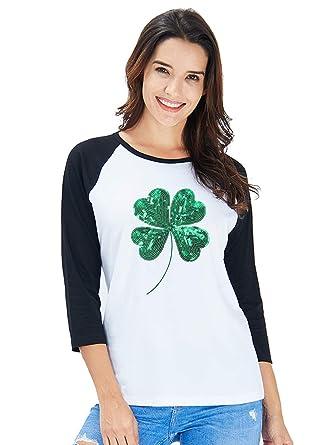 be4b4b67a1a Goodstoworld Sequin St. Patrick s Day Gift Irish T Shirt Women 3 4 Long  Sleeve