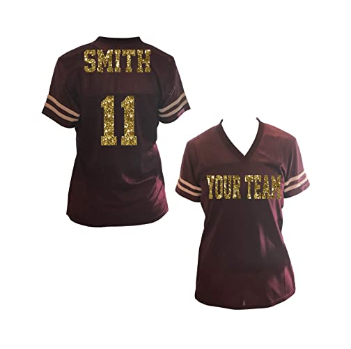 Amazon com: Design your Own Team Glitter Jersey Shirt for Ladies
