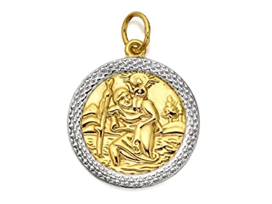 9ct Gold St Christopher Pendant Medal - 18mm - with 18