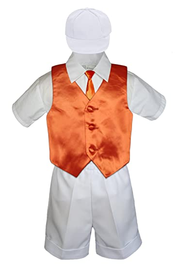0b73cecfe Amazon.com  5pc Baby Toddler Boys White Shorts Hat Orange Necktie ...