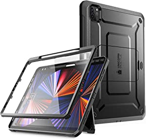 SUPCASE Unicorn Beetle Pro Series Case for iPad Pro 12.9 Inch (2021 / 2020), Support Apple Pencil Charging with Built-in Screen Protector Full-Body Rugged Kickstand Protective Case (Black)