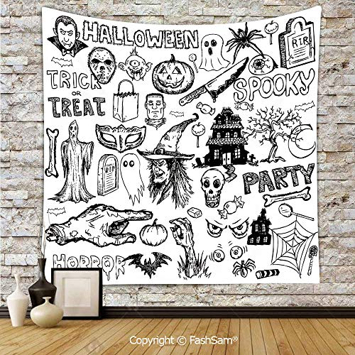 FashSam Tapestry Wall Blanket Wall Decor Hand Drawn Halloween Doodle Trick or Treat Knife Party Severed Hand Decorative Home Decorations for Bedroom(W59xL78)]()