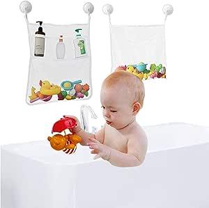 AUMA Bath Toy Organizer Mesh Storage Bag, 2 Pack Baby Shower Toys Bathtub Net Bag Kids Quick Dry Bathtub Mesh Net Bathtub Toy Holder , 4 Ultra Strong Suction Hooks, 13.78*17.72 inch and 17.72* 12.99 inch, White