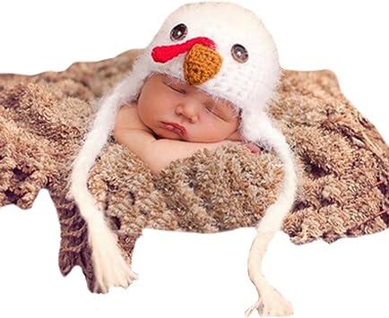 THEE Disfraz de Fotografía Gorro de Pollito Bebé Recién Nacido ...