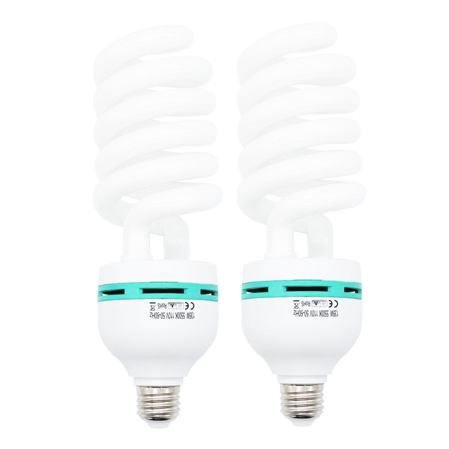 Foto&Tech 135 Watt Daylight Photography Fluorescent Spiral Light Bulb 5500K 110V White for Photography and Video Studio Lighting (2 Pack)