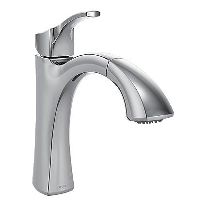 moen voss one handle high arc pullout kitchen faucet featuring rh amazon com