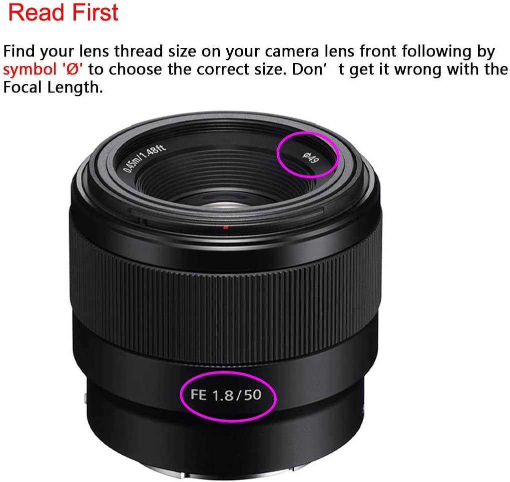 49mm Camera Standard Focus Metal Lens Hood with Lens Caps for Canon EF 50mm f//1.8 STM,Sony E-Mount FE 50mm f//1.8 E 35mm f//1.8 OSS Standard Lens,ULBTER Screw-in Lens Hood /& Snap-on Lens Cover Strap