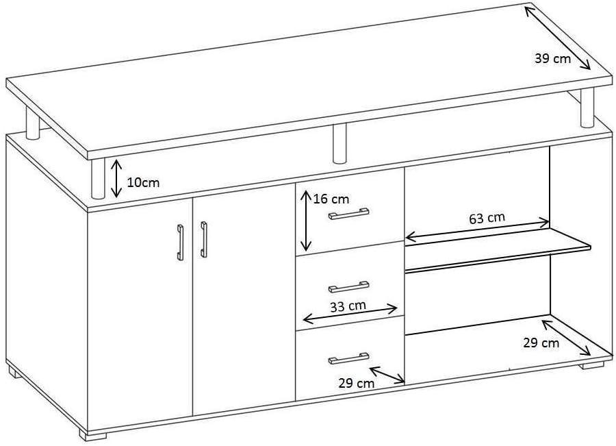 AVANTI TRENDSTORE Com/ò spaziosa con 4 ante a battente e 3 cassetti Lift in laminato di quercia Sonoma e bianco dimensioni: LAP 180x90x40 cm