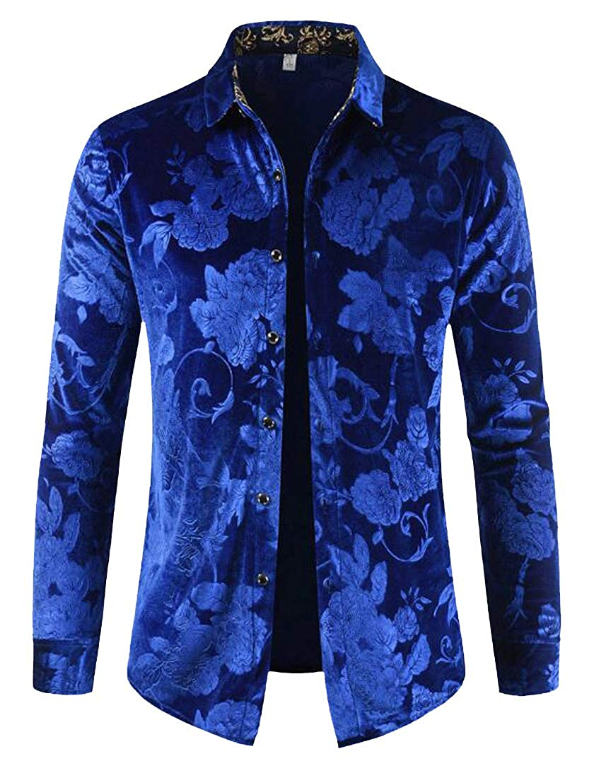 OTW Mens Casual Print Slim Fit Velvet Lapel Long Sleeve Button Down Dress Work Shirt