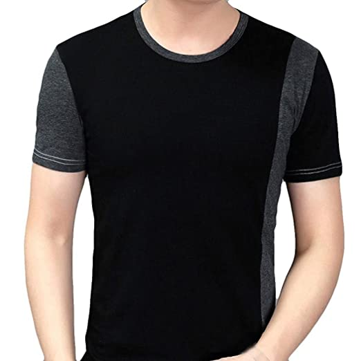 e41ac561ed2 iHPH7 Mens Blouse, Clearance Splicing Leisure Self Cultivation Short Sleeve  Shirt at Amazon Men's Clothing store: