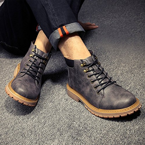 Men's Genuine Leather Sports Retro Office Casual Tooling Autumn Boots 2017 Career Martin Shoes Grey Winter FdAgx1Fwq