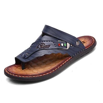 ff8d44dedb4d SUNROLAN Mens Leather Flip Flops Slipper Flat Sandals Shoes Blue