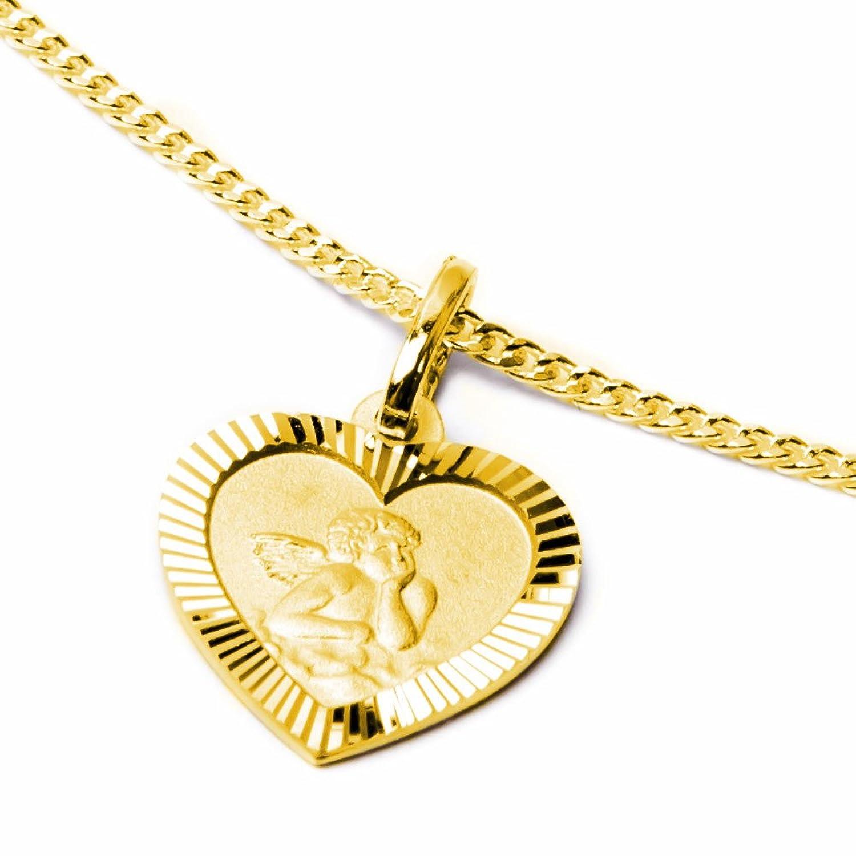 Schmuck Klein Goldener Anhänger Herz mit Schutzengel auf der Vorderseite - Rückseite GOTT SCHüTZE DICH 333-- Gold