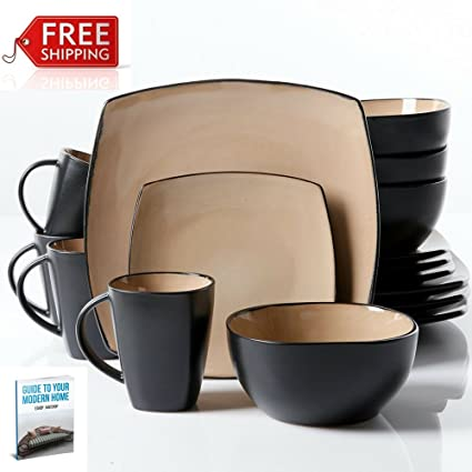 Amazon.com | Square Dinner Plates Set Of 16 Taupe Ceramic Formal Dining  Microwavable Dish Colored Crockery And Elegant Colorful Tableware Unique  Dinnerware ...