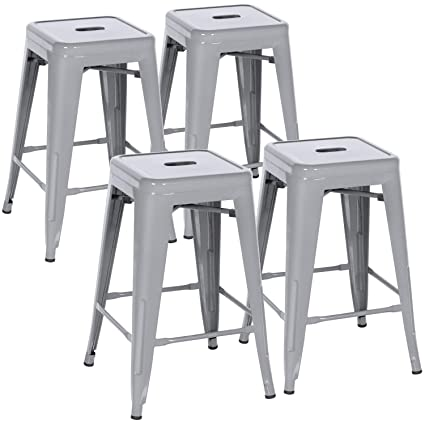 Amazoncom 24 Inch Metal Bar Stools Set Of 4 Industrial Backless