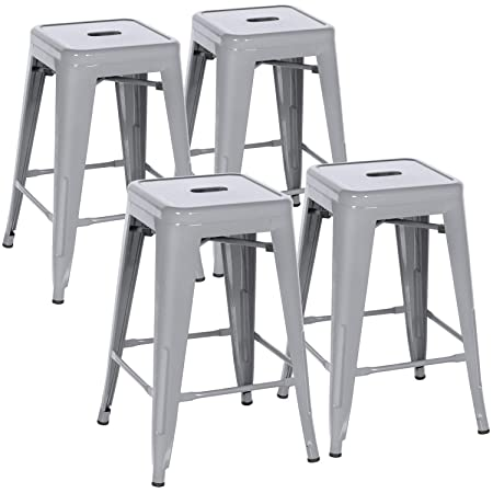 IntimaTe WM Heart 24 Inch Metal Bar Stools Set of 4 Industrial Backless Silver Bar Chairs