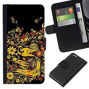 eJoy---La carpeta del tirón la caja de cuero de alta calidad de la PU Caso protector - Apple iPhone 5C - --Asian Floral Design;