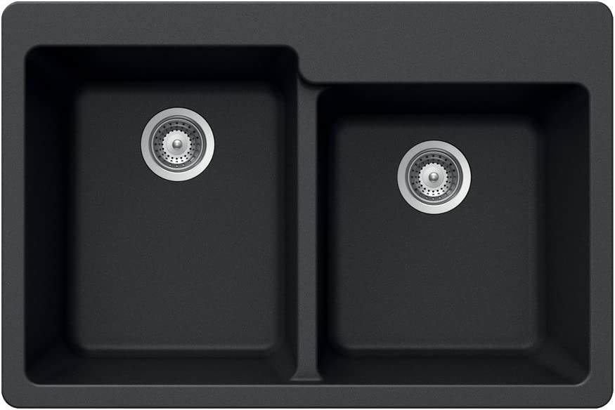 Houzer M-175 MIDNITE Quartztone Series Granite Top Mount 60 40 Double Bowl Kitchen Sink, Black