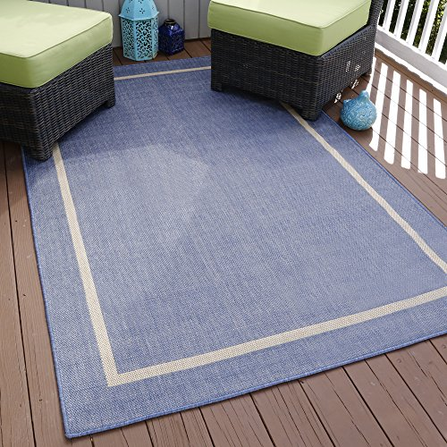 "Lavish Home Border Indoor/Outdoor Area Rug, 5' x 7'7"", Blue"
