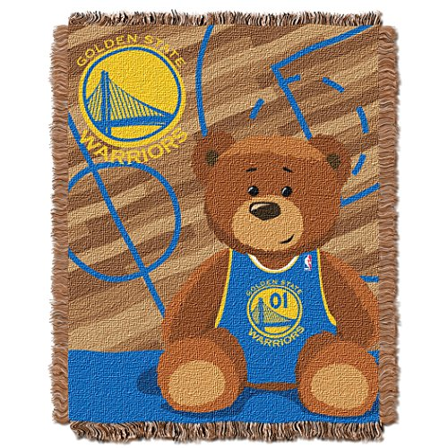 Officially Licensed NBA Golden State Warriors Half Court Woven Jacquard Baby Throw Blanket, 36