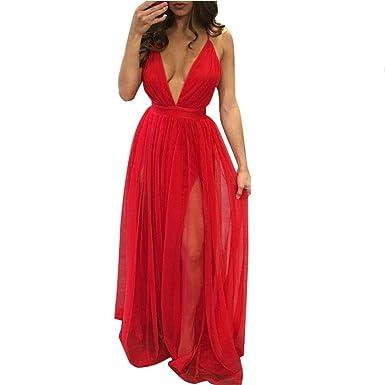 4eee9314cc66 YOUBan Damen Kleid Ärmelloses Chiffon Kleid Boho langes Maxikleid Mädchen  Abendkleid Sommerkleid Strandkleid Minikleid Sexy V