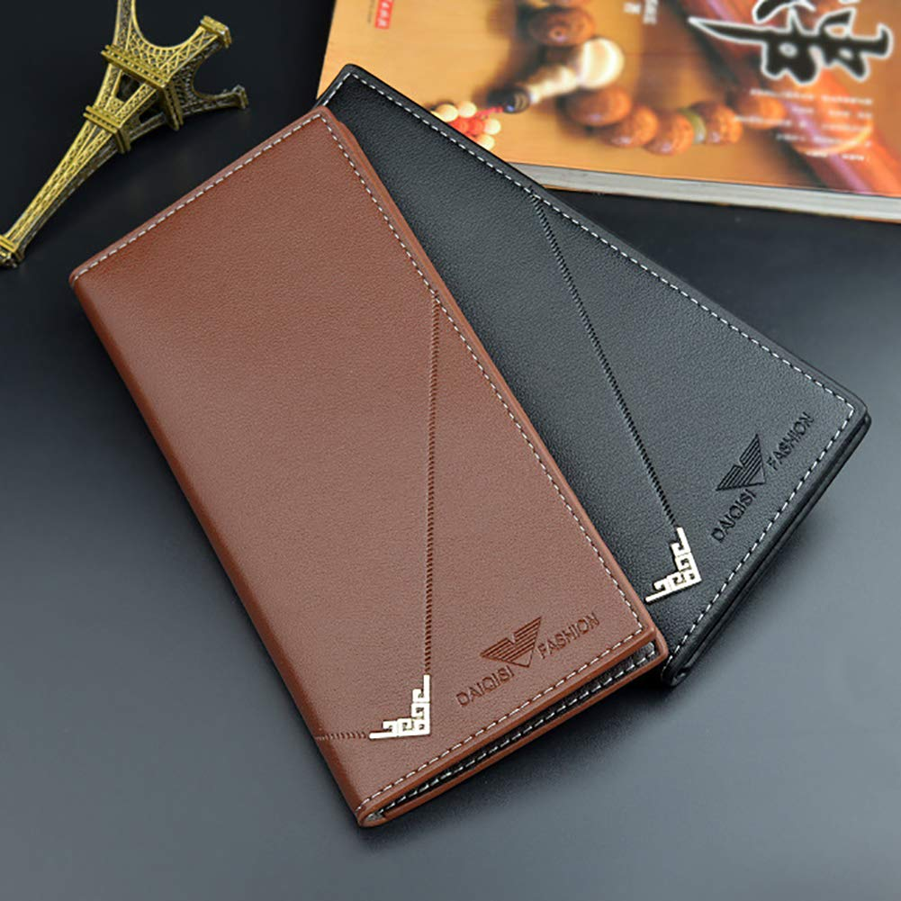 dna18729nd Retro Men Large Capacity Faux Leather Long Gift Purse Card Cash Holder Clutch Wallet Light Coffee