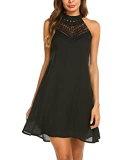 9fd594256d Fantaist Women s Sleeveless Halter Neck Patchwork Lace Mini Casual ...