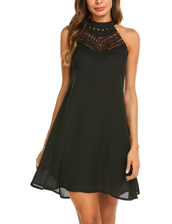 Sweetnight Womens Halter Neck Chiffon Tunic Tank Dress T Shirt Dresses (Black, L)
