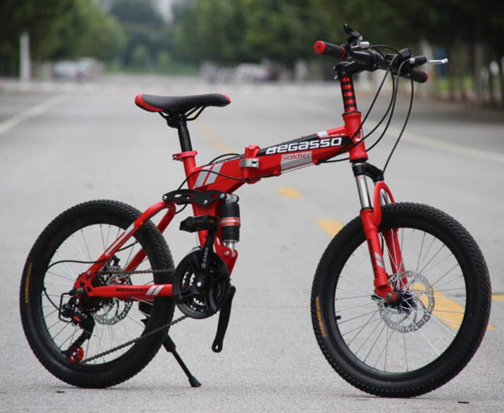 a la venta rojo Hycy Bicicleta De Montaña Totalmente Amortiguada, Frenos De Disco Disco Disco De 20 Pulgadas, Bicicleta De Montaña Plegable, Una Rueda, Cambio De Bicicleta,verde  más orden