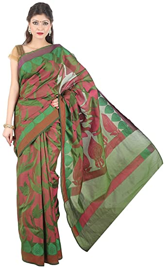 9161e1894f The Weave Traveller Handloom Woven Banarasi Mercerised Cotton Women Saree  With Blouse (Multicolor, TWT_CTN_GRN_46): Amazon.in: Clothing & Accessories