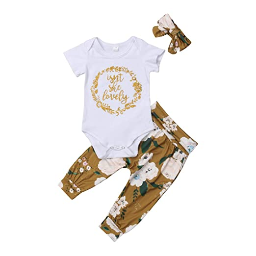 468e33d86942 3pcs Baby Girl Pants Outfit Lemon Long Pants +Letter Cotton Short Sleeve  Romper+ Orange Headband