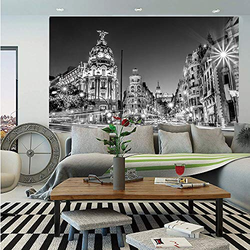 Black and White Decorations Removable Wall Mural,Madrid City Night Spain Main Street Ancient Architecture Decorative,Self-Adhesive Large Wallpaper for Home Decor 66x96 inches,Grey (Cover Madrid Patio)