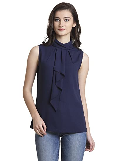 40456fa0552674 IRALZO Sleeveless Azure Top For Women  Amazon.in  Clothing   Accessories