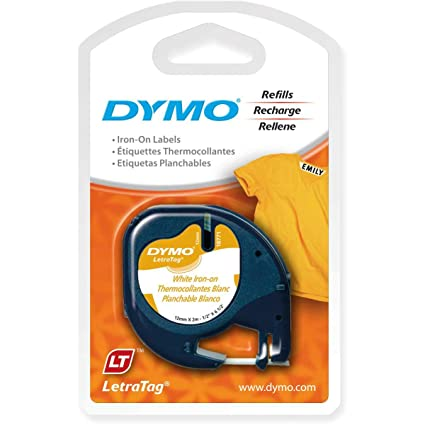 DYMO 18771 LT Tape Cartridge for Dymo LetraTag Label Makers, Adhere To  Fabrics Using an Iron, 1/2-Inch x 6 5 Feet, Black on White, Pack of 1