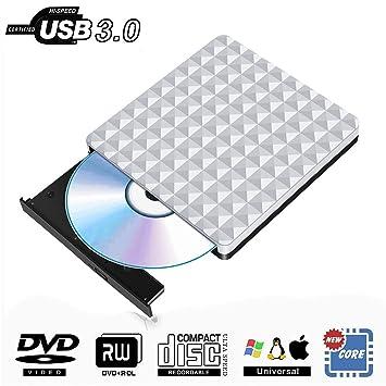 Grabadora DVD Externa USB 3.0, Portátil Óptica Lector Externo Unidad DVD CD Burner Compatible para Windows10/7/8,Laptop,Mac,Chromebook,Desktop,PC