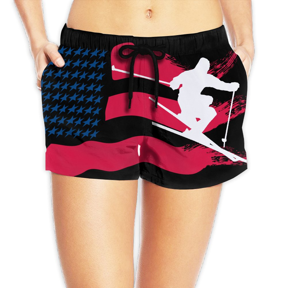 American Flag With Skiing Player Women Sexy Hot Pants Summer Casual Elastic Waist Beach Shorts L by Hundren
