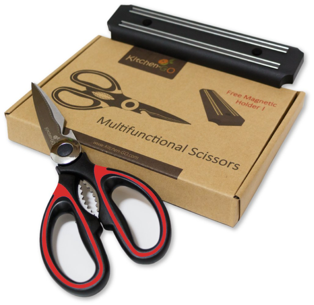 Heavy Duty Red Kitchen Shears - Multi Purpose Scissors Best for: Poultry, Fish, Seafood, Herbs, Vegetables, Meat and BBQ - Magnetic Bar included.
