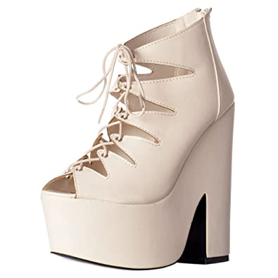 6ede33dabb8a Shoekandi Womens Ladies Gladiator Cut Out Strappy Lace Up Demi Wedge Chunky  Heels - White PU