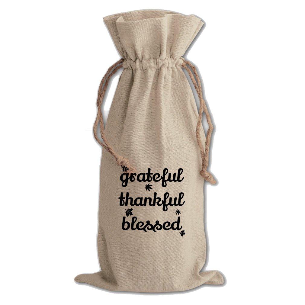 Grateful Thankful Blessed #1 Cotton Canvas Wine Bag, Cotton Drawstring