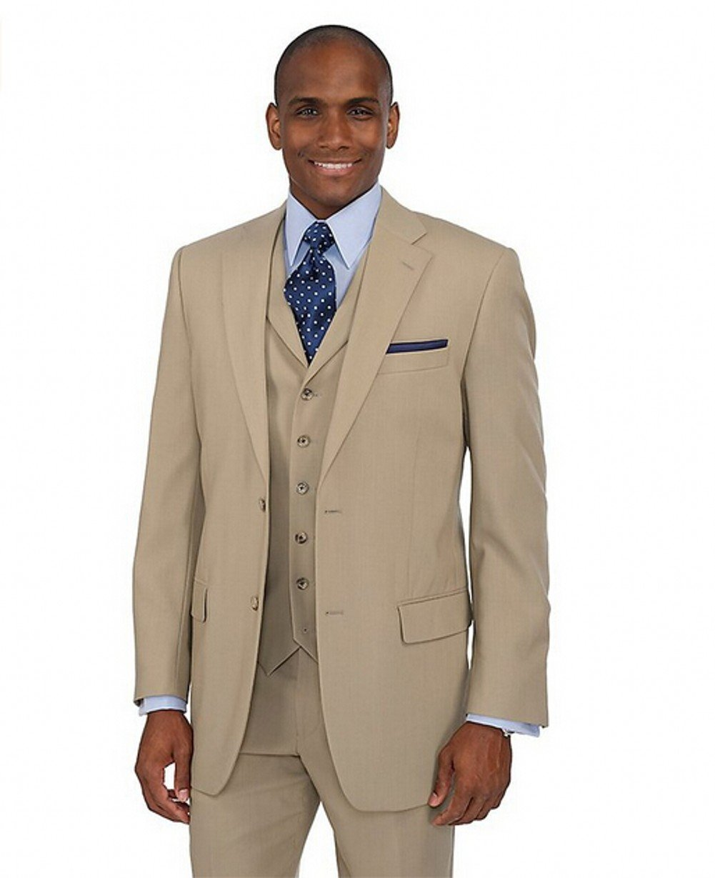 Love Dress Men's Two-Button Notch Lapel Suit Wedding Dress Tan 5XL
