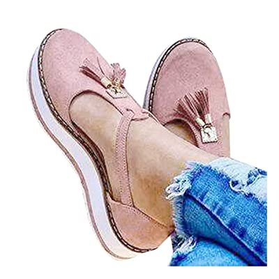 Xinantime Womens Comforty Flats Tassel Round Toe Flat Pumps Thick Bottom Buckle Strap Casual Beach Shoes: Clothing