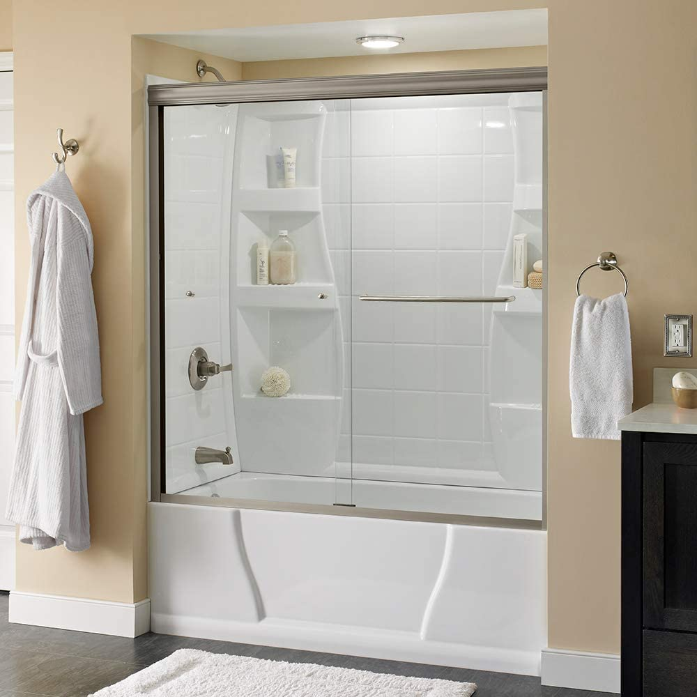 Delta Shower Doors SD3927410 Classic Semi-Frameless Traditional Sliding Bathtub 60 x58-1 8, Nickel Track