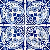 Mi Alma Backsplash Peel and Stick Tile Stickers 24 PC Set Authentic Tile Decals Bathroom & Kitchen Vinyl Wall Decals Easy to Apply Just Peel & Stick Home Decor (6x6 Inch, Retro Blue H13)