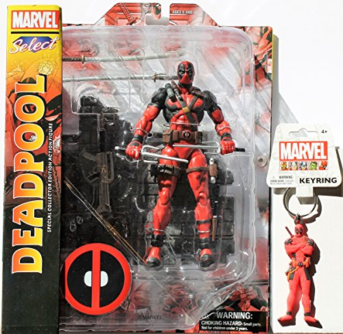 Diamond Select Toys Marvel Select: Deadpool Action Figure Bundle includes Deadpool PVC Keyring