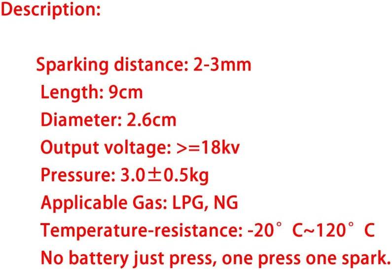 Meter Star Gas Heater One Outlet Piezo Igniter Buj/ía de Encendido Bot/ón pulsador Ceramic Igniter Pack de 2 Piezas