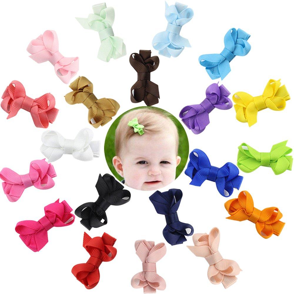DEEKA 20 PCS Multi-colored 4 Hand-made Grosgrain Ribbon Hair Bow Alligator Clips Hair Accessories for Little Girls