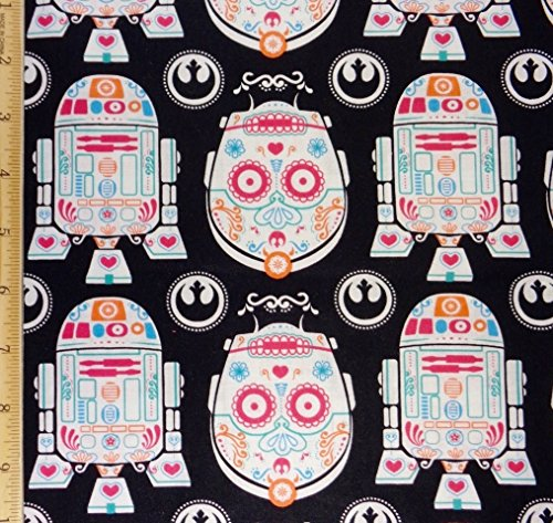 1 Yard - Star Wars R2-D2 and C-3PO Sugar Skulls Cotton Fabric - Officially Licensed (Great for Quilting, Sewing, Craft Projects, Quilts, Throw Pillows & More) 1 Yard X 44